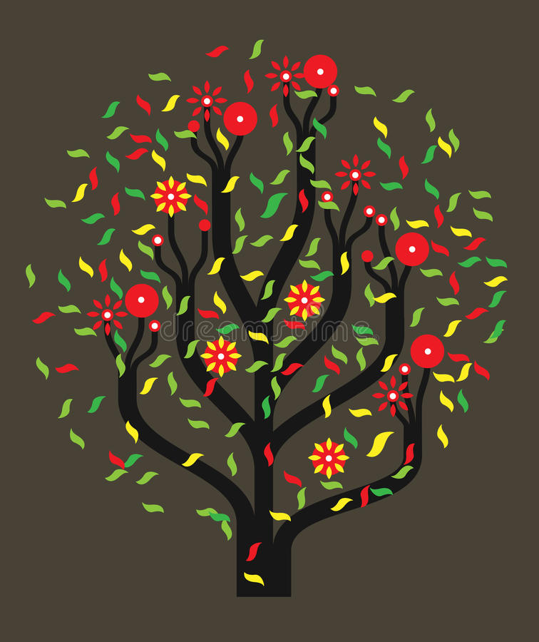 Tree with colour leaves vector illustration