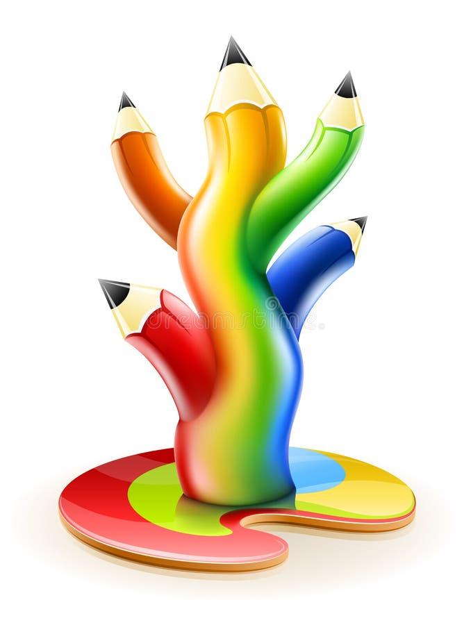 Tree of colour pencils creative art concept vector illustration
