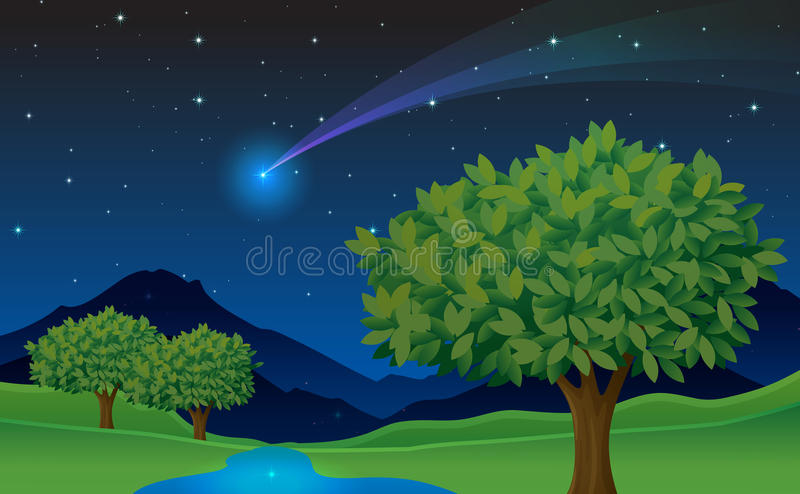 Download Tree and comet stock vector. Image of countryside, mountain - 25874369