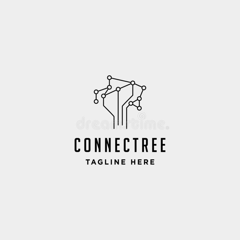 Tree connection logo design vector nature technology symbol sign icon. Isolated, internet, eco, wifi, wireless, communication, network, digital, web, signal royalty free illustration