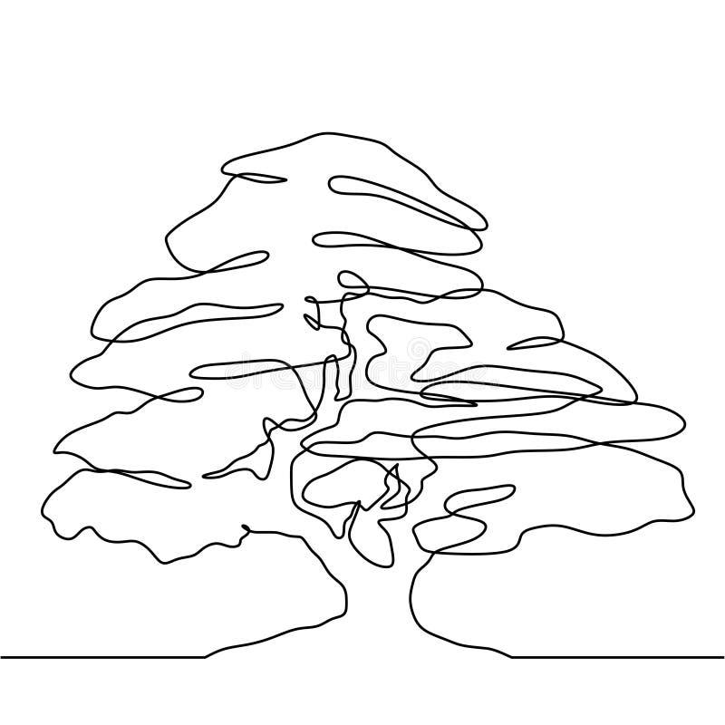 Tree continuous line drawing vector illustration minimalist design stock illustration