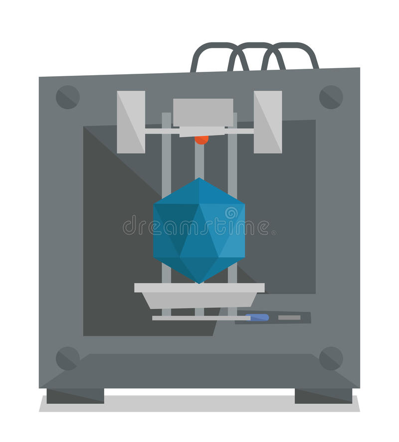 Tree D printer vector illustration. vector illustration