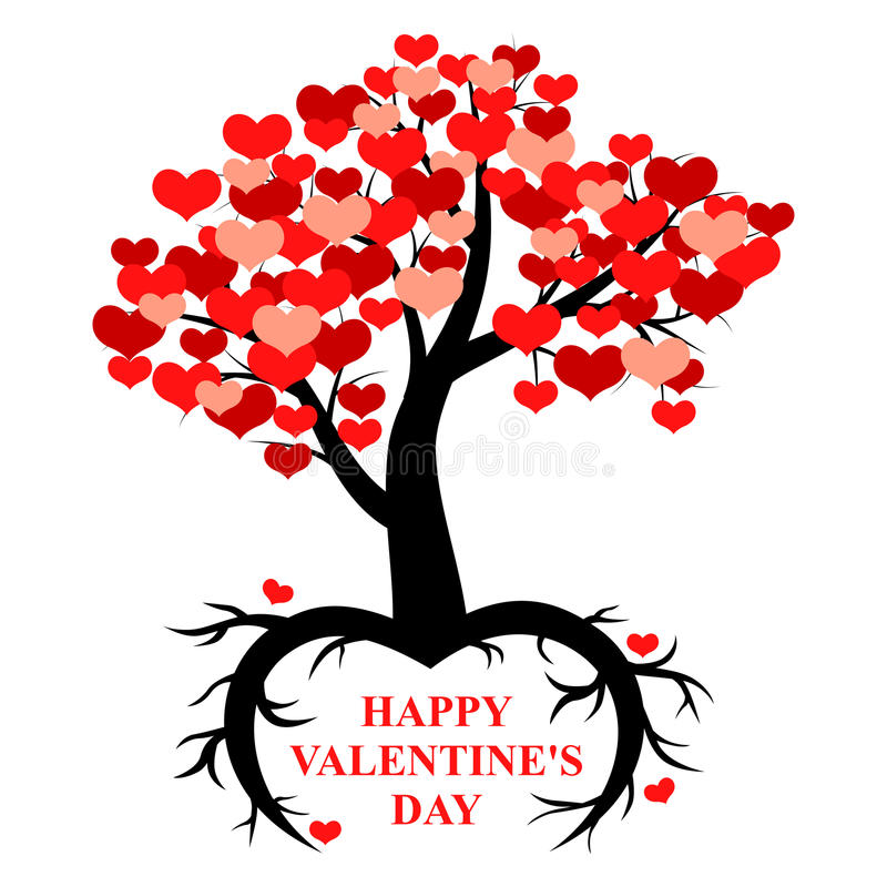Tree decorated hearts with roots in the form of heart stock illustration