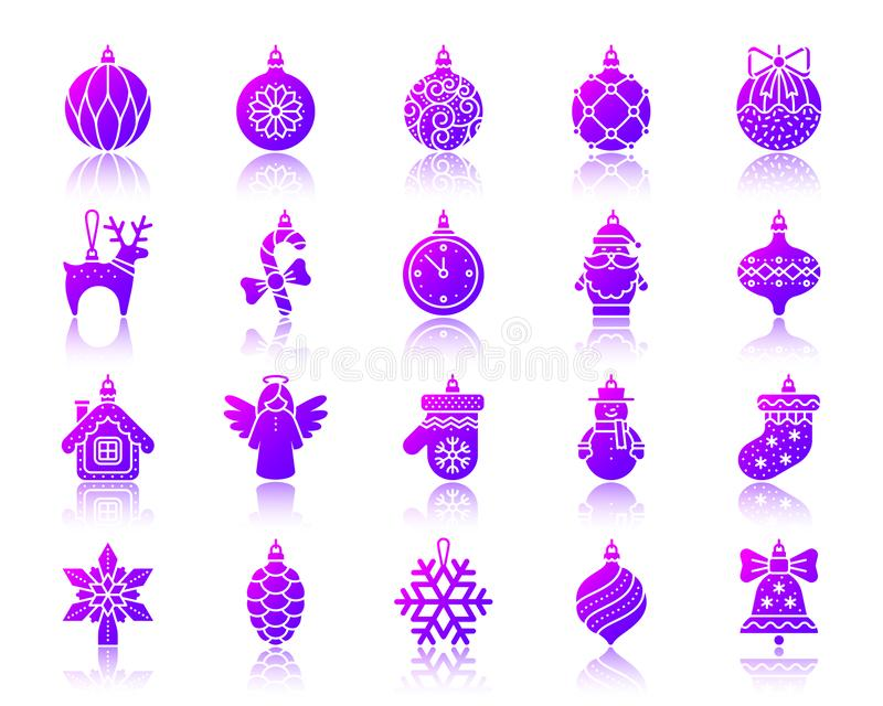 Tree Decorations simple gradient icons vector set. Tree Decorations silhouette icons set with reflection. Sign kit of christmas. Ball vector pictogram collection vector illustration