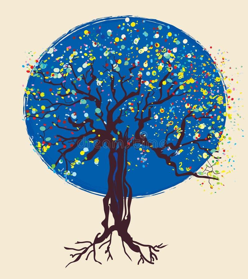 Tree decorative design at night. Illustration vector illustration