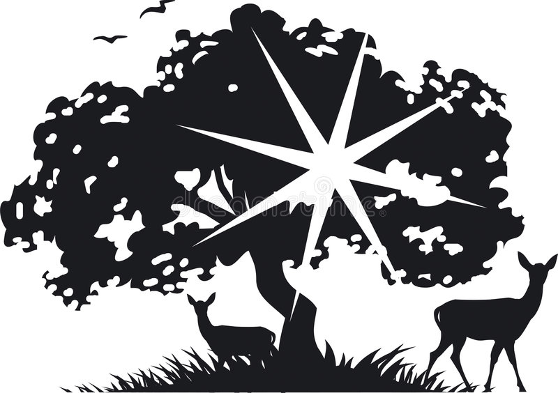 Tree and deer royalty free illustration