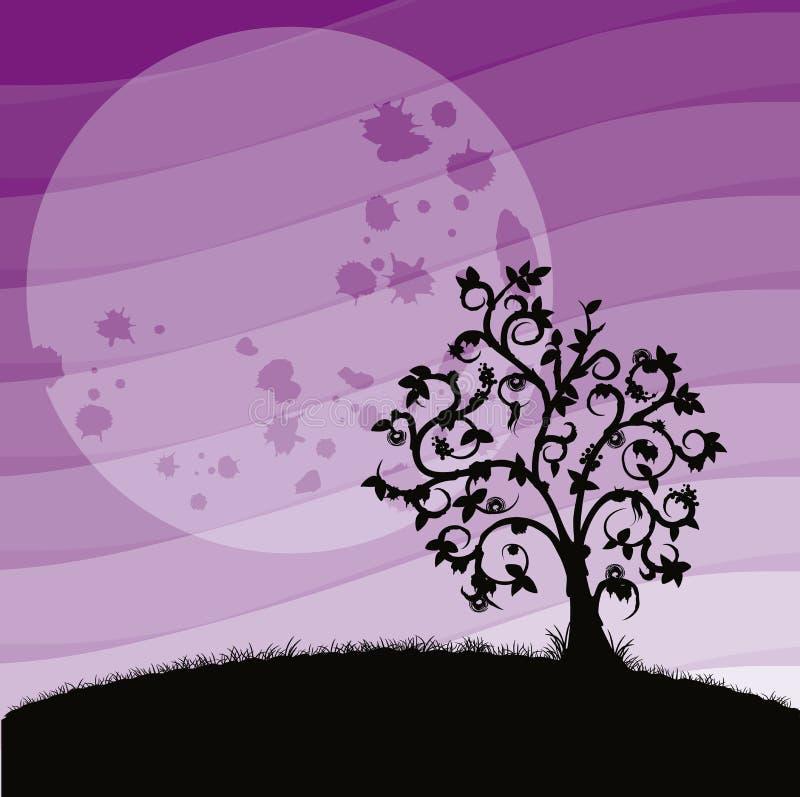 Tree of desolation. With lunar landscape stock illustration