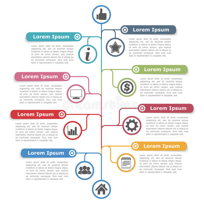 Tree Diagram. Infographics template with place for your titles, text and icons stock illustration