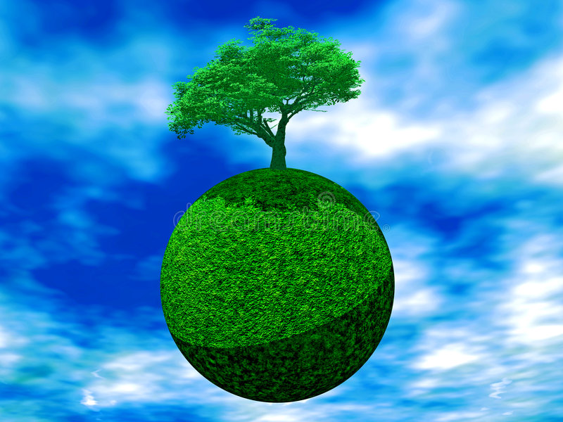 Tree on earth. A tree is juicy green color on earth on a background cloudy sky royalty free illustration