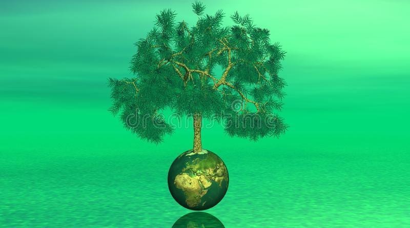 Download Tree On Earth In Green Background Stock Illustration - Illustration: 12166654