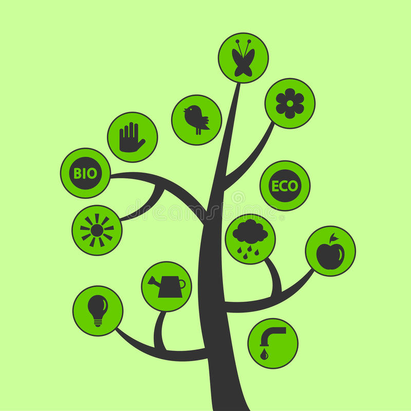 Tree with ecological icons stock illustration