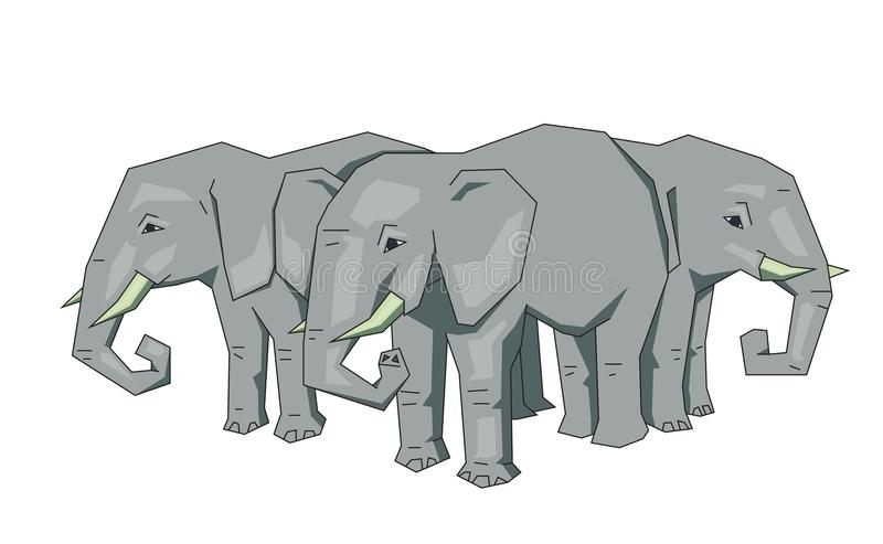 Tree elephants, mythical flat Earth concept. Flat line vector illustration. Colored cartoon style, isolated on white. Tree African elephants standing. Flat line vector illustration