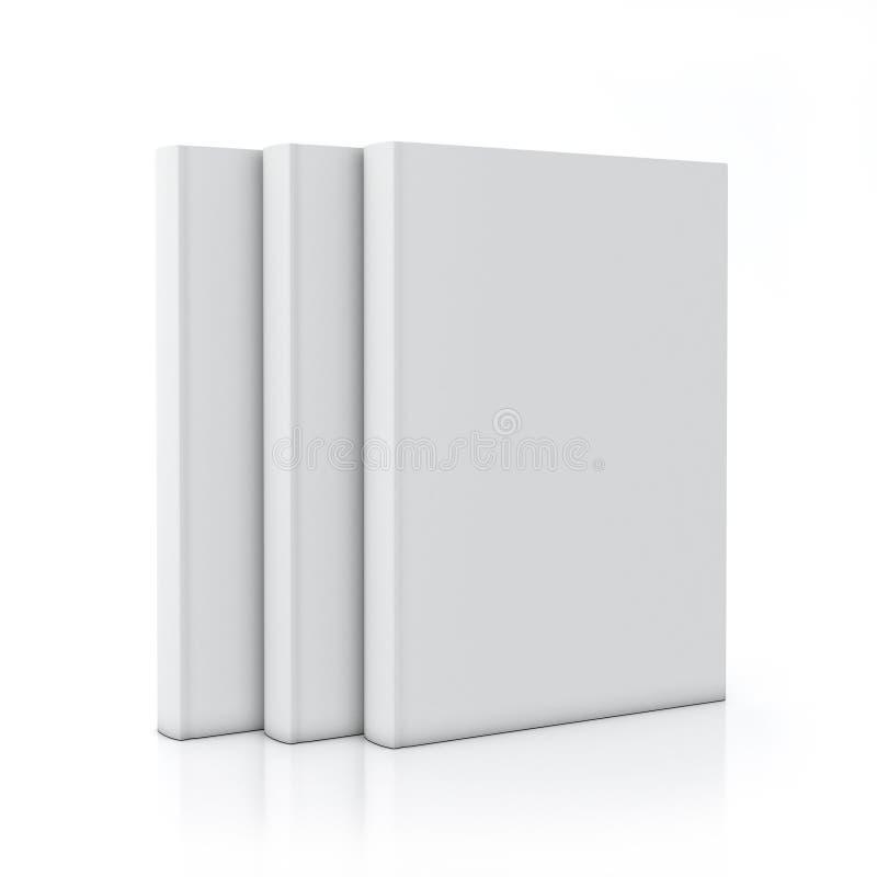 Tree empty white books standing, on white background stock illustration