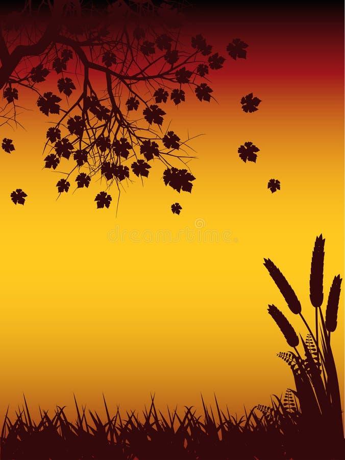 tree för autmunhavresilhouette arkivbilder