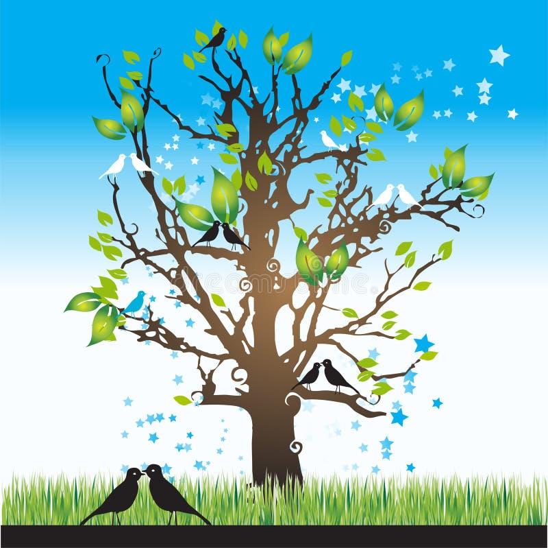 tree för fågelsilhouettefjäder stock illustrationer