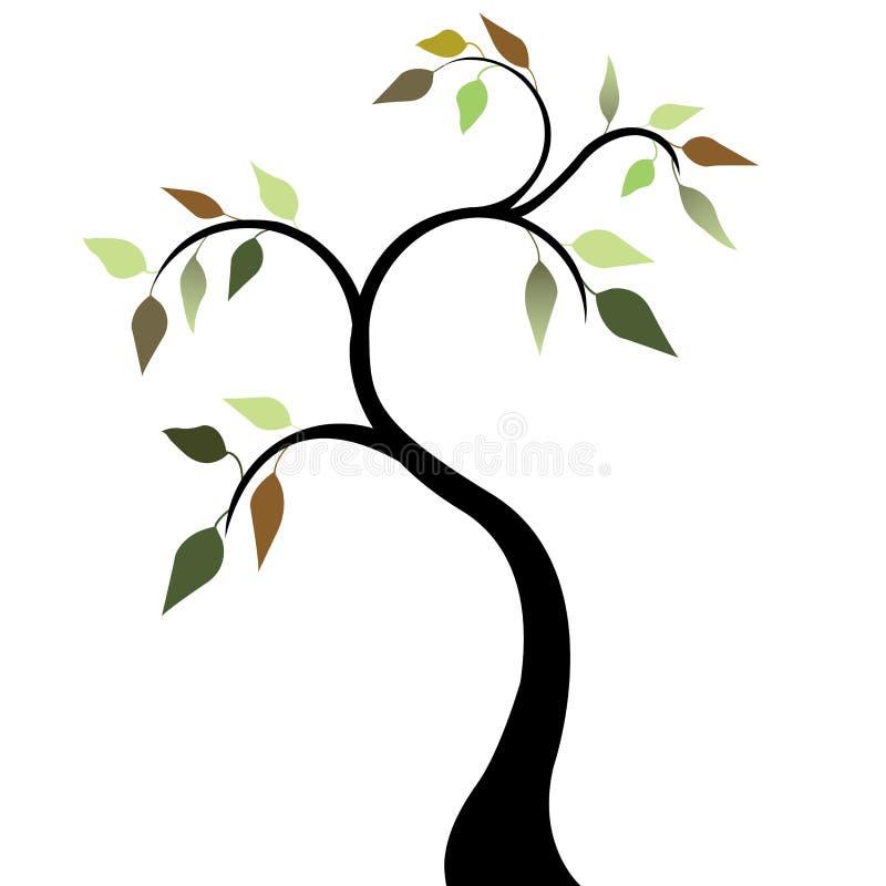 tree för fjäder för 2 leaves royaltyfri illustrationer