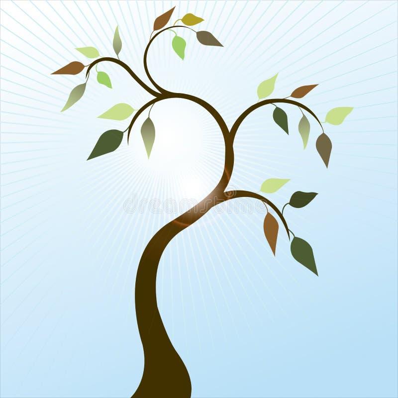 tree för fjäder för 3 leaves royaltyfri illustrationer