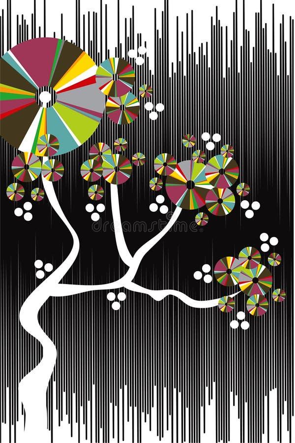 tree för grunge för Cherryfärgdiskett vektor illustrationer