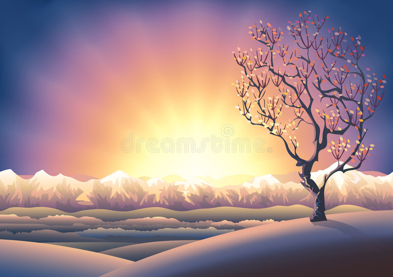 tree för höstliggandesolnedgång stock illustrationer