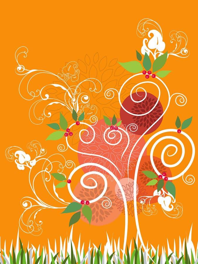 tree för illustrationsommarswirl stock illustrationer