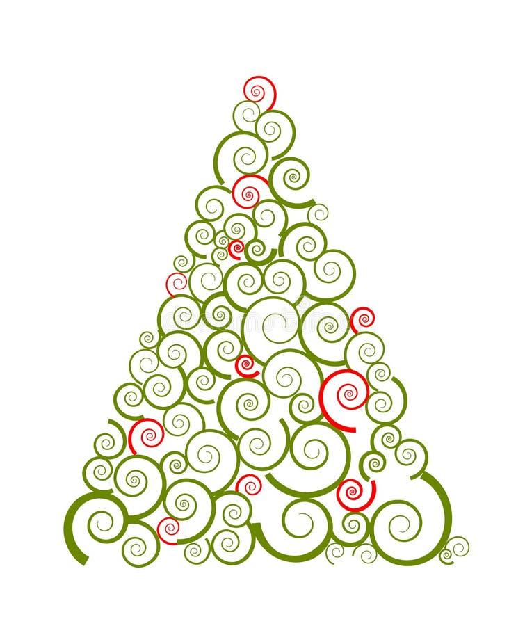 tree för julsilhouetteswirl royaltyfri illustrationer