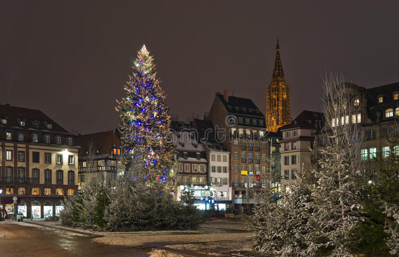 tree för julstadsfyrkant royaltyfri fotografi