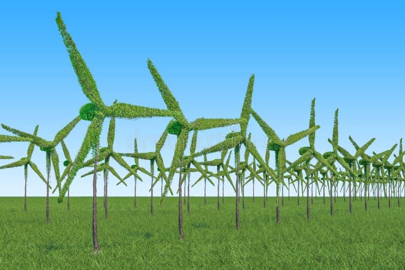 tree för klartecken för blomma för kulabegreppsenergi förnybar Träd i formen av vindturbiner på royaltyfri illustrationer