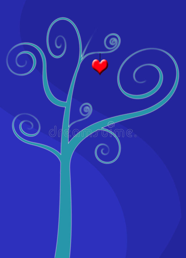 tree för korthjärtaförälskelse royaltyfri illustrationer