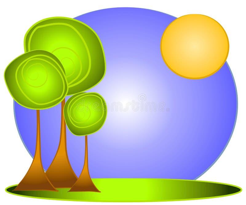 tree för logo för konstgemgreen vektor illustrationer