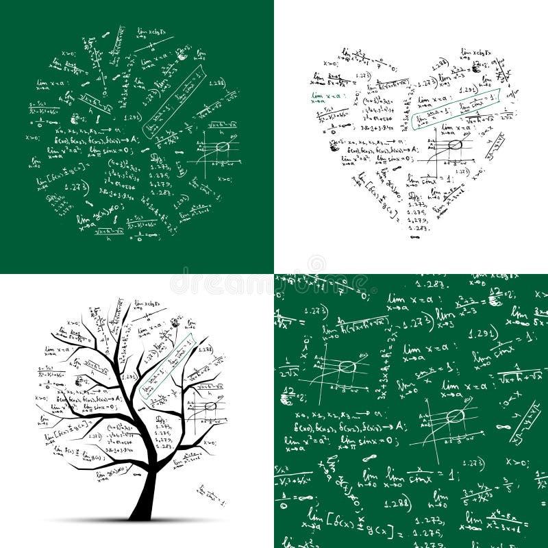 tree för math för bakgrundssamlingsram seamless royaltyfri illustrationer
