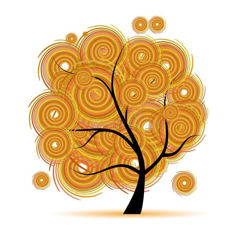 tree för säsong för konsthöstfantasi royaltyfri illustrationer