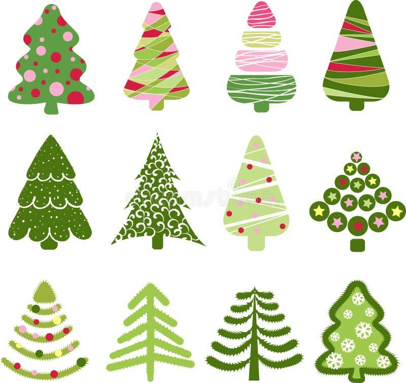 tree för set för juldesignelement royaltyfri illustrationer