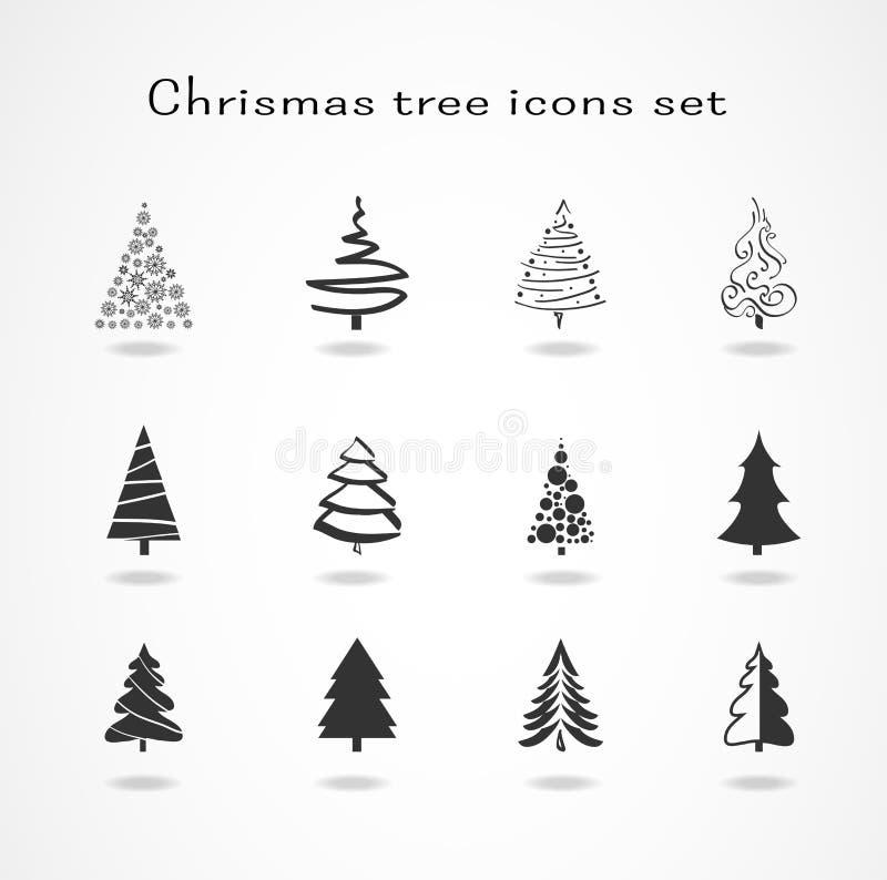 tree för set för juldesignelement royaltyfria bilder