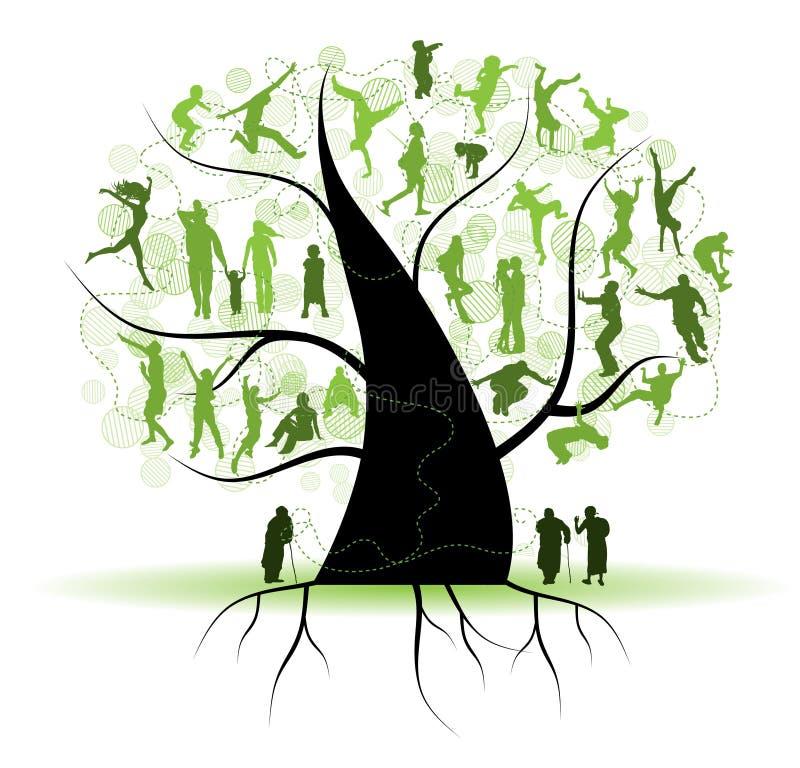 tree för silhouettes för familjfolksläktingar royaltyfri illustrationer