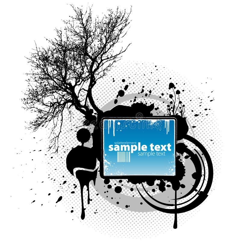 tree för splatter för designelementgrunde royaltyfri illustrationer