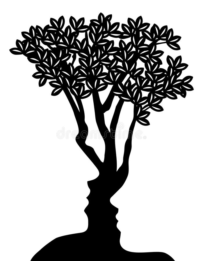Tree Faces Optical Illusion Concept vector illustration