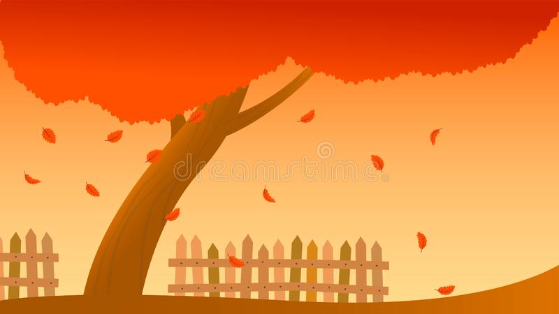 Tree fall leaves fall autumn fence illustration. Element of color autumn vector background vector illustration