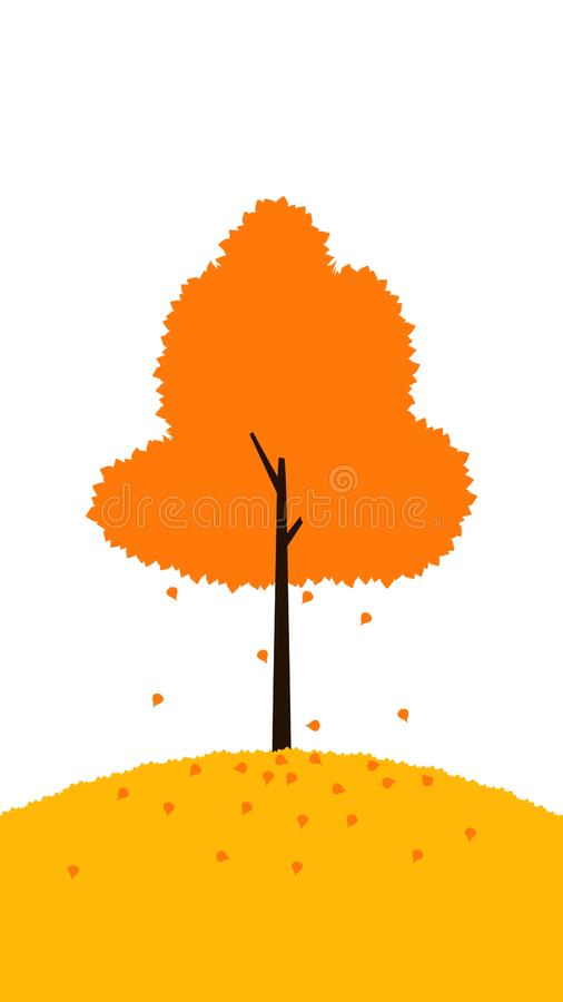 Tree fall leaves fall autumn illustration. Element of color autumn vector background royalty free illustration