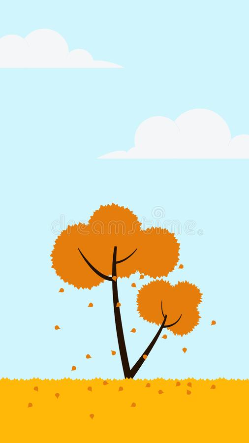 Tree fall leaves fall autumn illustration. Element of color autumn vector background stock illustration
