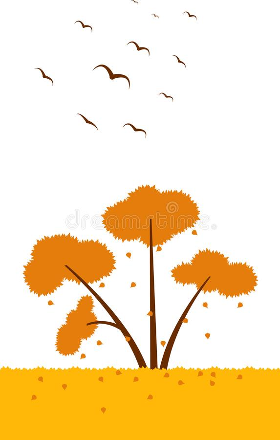 Tree fall leaves fall birds autumn illustration. Element of color autumn vector background royalty free illustration