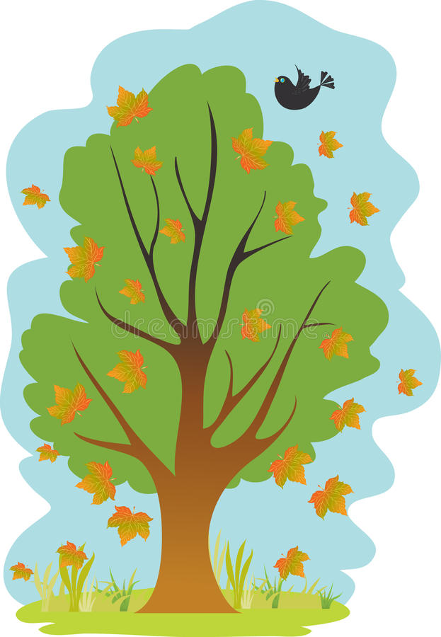 Tree with falling leaves. A cartoon tree with falling leaves and a blackbird stock illustration