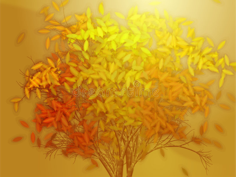 Download Tree With Falling Leaves, Illustration Stock Illustration - Image: 6269825