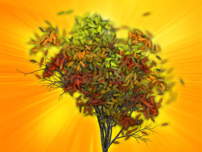 Download Tree With Falling Leaves, Illustration Royalty Free Stock Photography - Image: 6269907