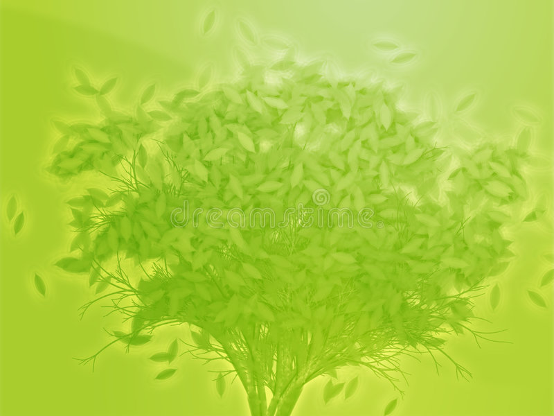 Tree With Falling Leaves, Illustration Royalty Free Stock Image