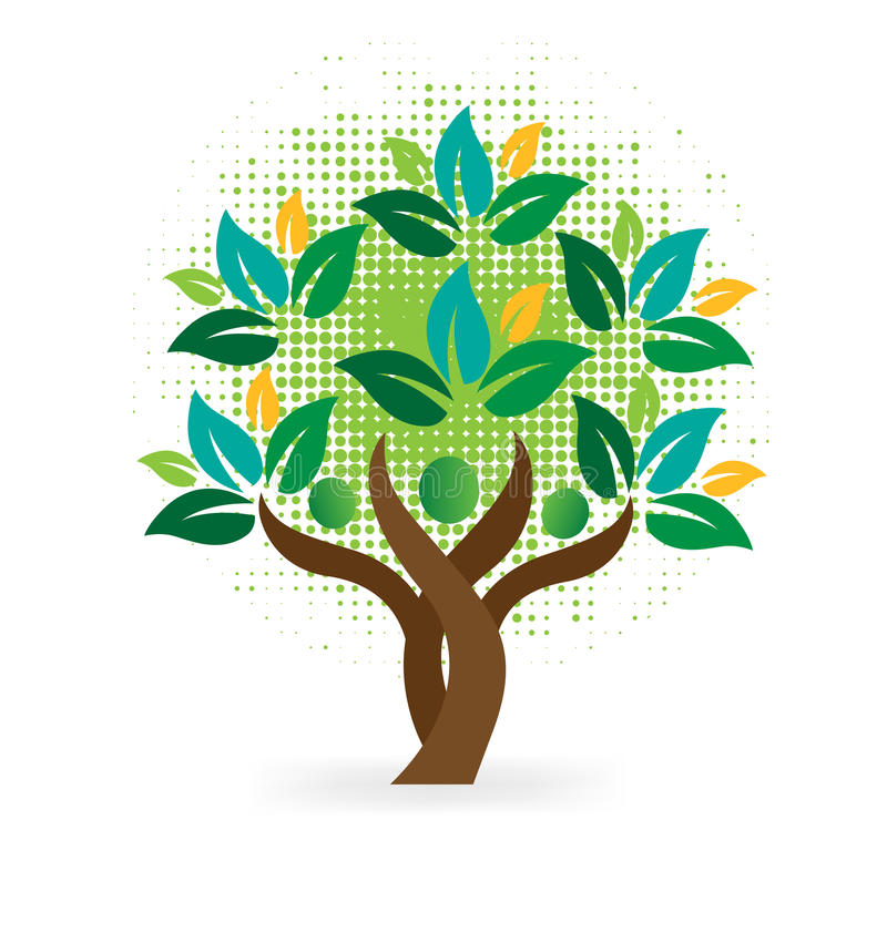 Tree family people green leafs stock illustration