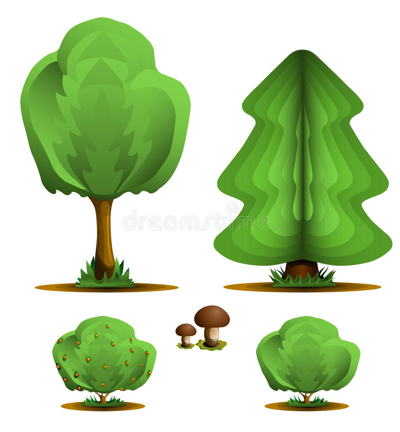 Download Tree, Firtree, Shrub, Mushroom - Set Forest Plants Stock Vector - Illustration: 13660968