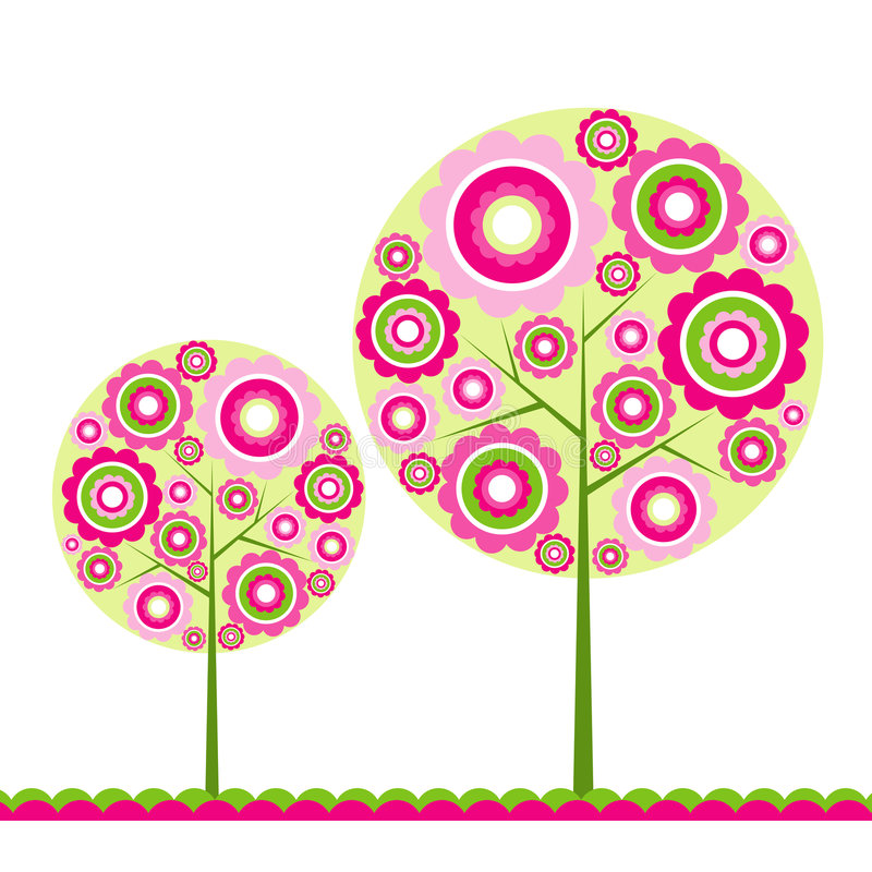 Tree floral background, royalty free illustration