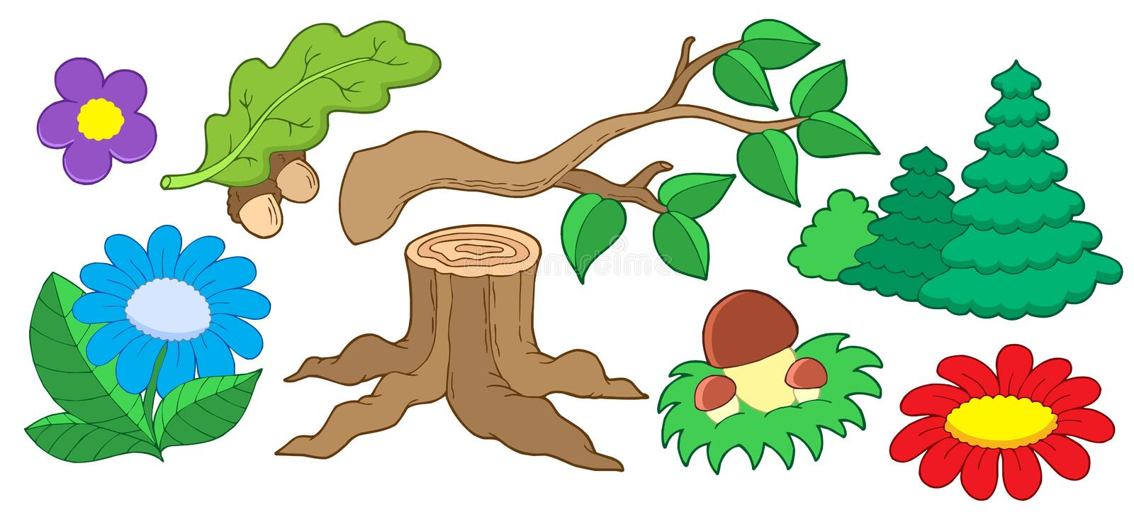 Tree and flower collection vector illustration