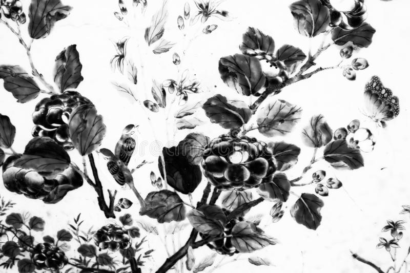 The Tree and Flowers Art paintings isolated black and white along the galleries stock photography