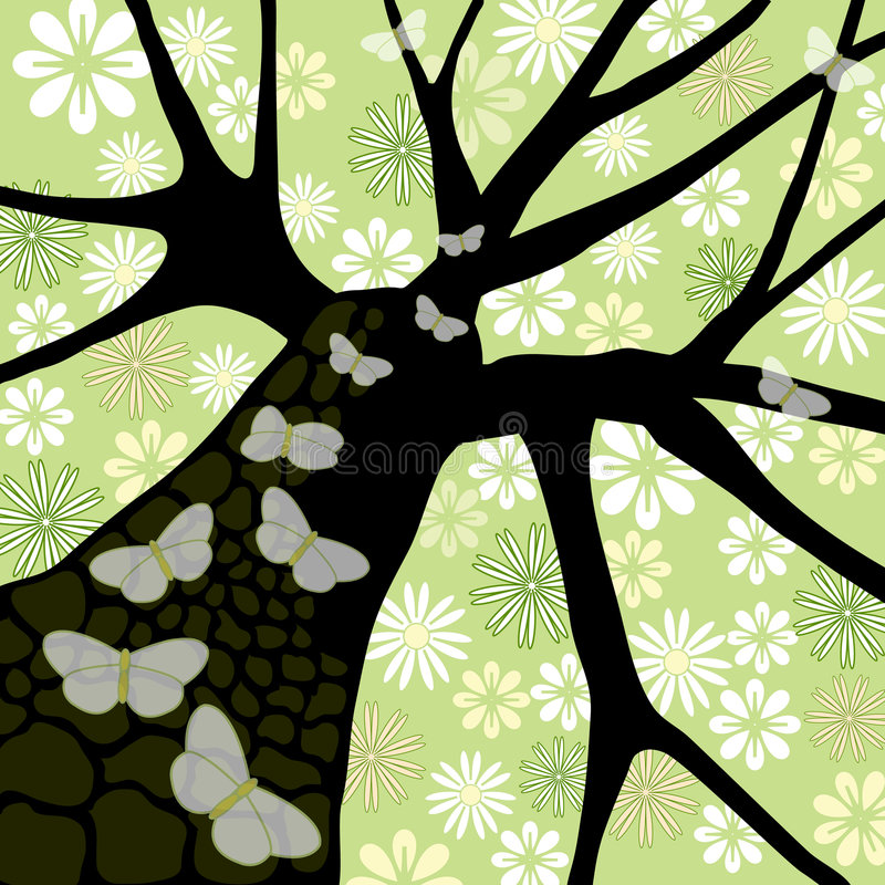 Tree with Flowers & Butterflies stock illustration